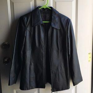 Black leather women's coat